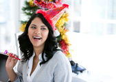 Positive businesswoman celebrating christmas — Stock Photo