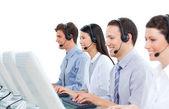 International business talking on headset — Stock Photo