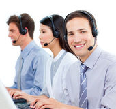 Ambitious customer service agents working in a call center — Stock Photo
