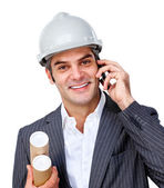 Confident male architect on phone — Stock Photo