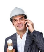 Charming male architect on phone — Stock Photo