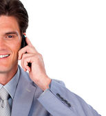 Smiling businessman talking on phone — Stock Photo