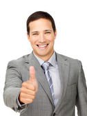 Successful businessman with thumb up — Stock Photo