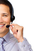 Close-up of a businessman using headset — Stock Photo