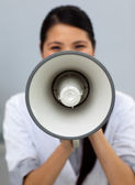 Self-assured businesswoman shouting instructions — Stock Photo