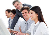 Assertive manager working with his team — Stock Photo