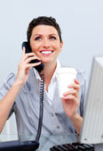 Enthusiastic business woman on phone — Stock Photo