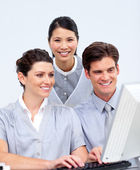 Ambitious business working at a computer — Stock Photo