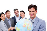 Successful manager and his team holding a terrestrial globe — Stok fotoğraf