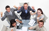 Exuberant business team celebrating a success — Stock Photo