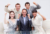 Confident business team being positive — Stock Photo
