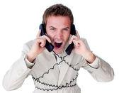 Zdůraznil podnikatel propletenec se v telefonní dráty — Stock fotografie