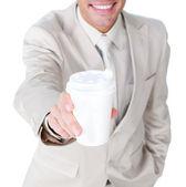 Close-up de um empresário mostrando um copo bebendo — Foto Stock