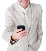 Close-up of a businessman sending a text — Stock Photo