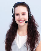 Portrait of beautiful woman working in a call center — Stock Photo