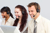 Business working in a call center — Stock Photo