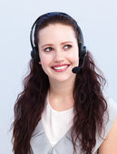 Beautiful woman working in a call center — Stock Photo