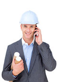 Charming male architect talking on phone — Stock Photo