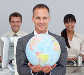 Attractive manager showing South America — Stock Photo