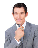 Positive businessman holding glasses — Stock Photo
