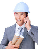 Attractive male architect on phone — Stock Photo