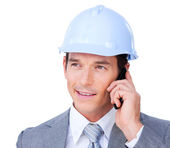 Self-assured male architect talking on phone — Stock Photo