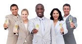 Portrait of multi-cultural business team drinking champagne — Stock Photo