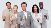 Business team celebrating a success with champagne — Stock Photo
