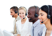 International business working in a call center — Stock Photo