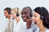 Successful business working in a call center — Stock Photo