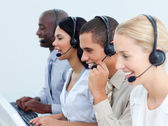 Young business working in a call center — Stock Photo