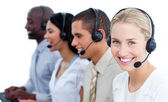 Cheerful business team with headset on — Stock Photo