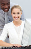 Afro-american businessman and his colleague working at a compute — Stock Photo