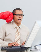 Joven empresario ser encajonado en la oficina — Foto de Stock