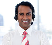 Close-up of an ethnic customer agent — Stock Photo