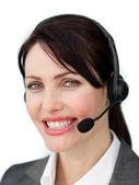 Assertief zakenvrouw met headset — Foto de Stock