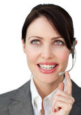 Charming businesswoman with headset — Stock Photo
