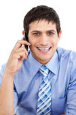 Caucasian businessman on phone — Stock Photo