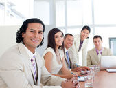 Portrait of a smiling business team in a meeting — Stock Photo