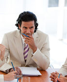 Serious manager talking with his team — Stock Photo
