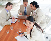Smiling Asian businesswoman in a meeting — Stock Photo