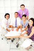 Grupo multiétnico de arquitectos en una reunión — Foto de Stock
