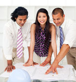 Close-up of a diverse group of engineers reviewing blueprints — Stock Photo