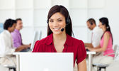 Young Businesswoman using headset — Stock Photo