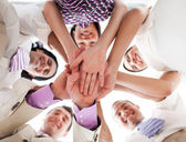 Business holding hands together — Stock Photo