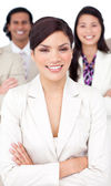 Presentation of a smiling business team — Stock Photo