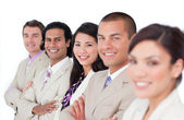 Presentation of a business team lining up — Stock Photo