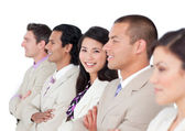 Asian business woman and her team lining up — Stock Photo