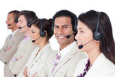 Latin customer agent and his team lining up — Stock Photo