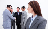 Portrait of a businesswoman with her team — Stock Photo